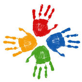 Set of colorful hand prints — Stock Vector