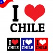 I love Chile sign and labels — Stock Vector