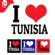 I love Tunisia sign and labels — Stock Vector