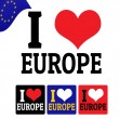I love Europe sign and labels — Stock Vector