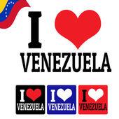 I love Venezuela sign and labels — Stock Vector