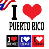 I love Puerto Rico sign and labels — Stock Vector