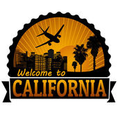 Welcome to California travel label or stamp — Stock Vector