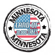 Stock Vector: Minnesota, Land of 10.000 Lakes stamp