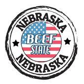 Nebraska, Beef State stamp — Stockvektor