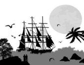 Starověké lodí plachtění — Stock vektor