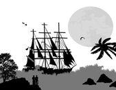 Ancient ship sailing — Stock Vector