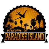 Paradise Island travel label or stamp — Stock Vector