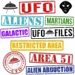 Set of aliens and UFO stamps — Stock Vector #37935841