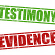 Stock Vector: Testimony and evidence stamps
