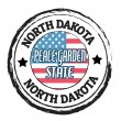 North Dakota, Peace Garden State stamp — Stok Vektör