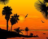 Coucher de soleil sur paysage magnifique — Vecteur