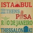 Istanbul, Athens, Pisa, Rio de Janeiro and Thessaloniki stamps — Stock Vector