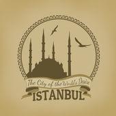 Retro plakát Istanbul (město touha světy — Stock vektor