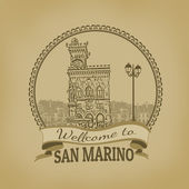 Welcome to San Marino retro poster — Stock Vector