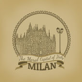 Milan ( The Moral Capital of Italy) retro poster — Stock Vector