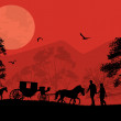 Carriage and lovers at red sunset — Stock Vector