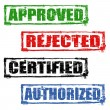 Approved, rejected, certified and authorized stamps — Stock Vector