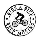 Ride a bike, keep moving stamp — Vettoriale Stock