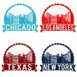 Chicago, Los Angeles, Texas and New York stamps — Stok Vektör