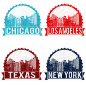 Chicago, Los Angeles, Texas and New York stamps — Stock Vector