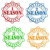 Set of season one, two, three and four stamps — Stock Vector
