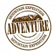 Vector de stock : Mountain expedition, adventure stamp