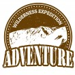 Vector de stock : Wilderness expedition, adventure stamp
