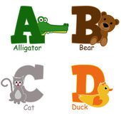 Alphabet animals from A to D — Stock Vector