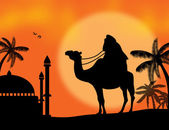Bedouin travel background — Vector de stock