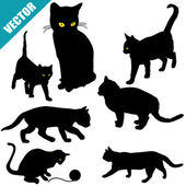 Silhouettes of cats — Stock Vector
