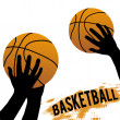Hands and basketball — Stock Vector
