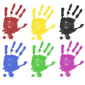 Multicoloured hand prints — Stock Vector