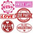 Stock Vector: Stamps set for Valentine day