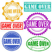 Game over stamps set — Stock Vector