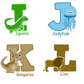 Alphabet animals from I to L — Stock Vector