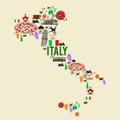 Italy landmark map silhouette — Stock Vector
