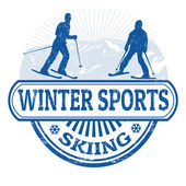 Winter sports skiing stamp — Stock Vector