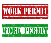 Work permit stamp — Stock Vector