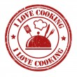 I love cooking stamp — Stock Vector