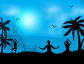 Yoga meditation silhouettes — Stock Vector