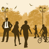 People on a street — Stock Vector