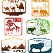 Stock Vector: Various Africcountries stamps