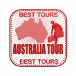 Australia tour stamp — Stock Vector