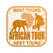 African tour stamp — Stock Vector