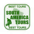 South America Tours tour stamp — Stock Vector