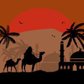 Bedouin riding camel during the red night — Stock Vector