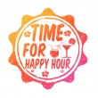 Stock Vector: Time for happy hour stamp