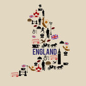 England landmark map silhouette icon — Stock Vector