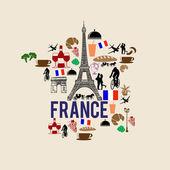 France landmark map silhouette icon — Stock Vector